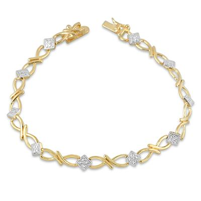 Diamond Accent Bracelet in 18K Plated Brass