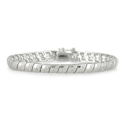 Diamond Rolex Bracelet in Rhodium Plated Brass