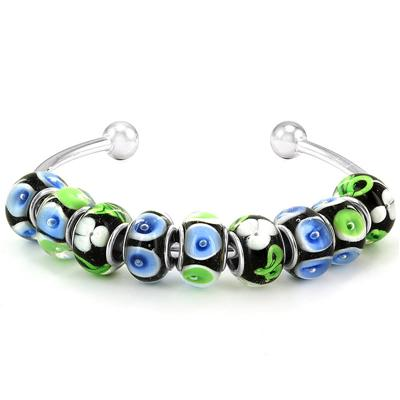 Spring Season Hand Blown Glass Bead Bangle