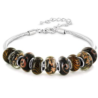 Hand Blown Bronzed Glass Bead Bracelet