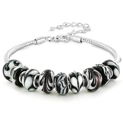 Black and White Zebra Swirl Glass Bead Bracelet