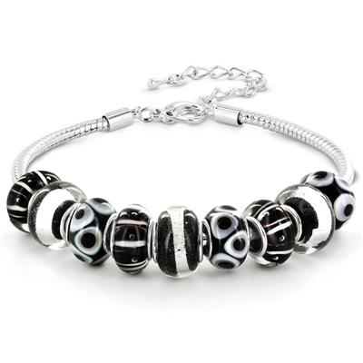 Hand Blown Black and White Glass Bead Bracelet