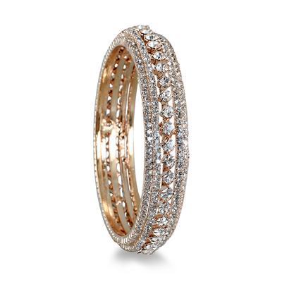 Gold Electroplated White Crystal Estate Bangle Bracelet