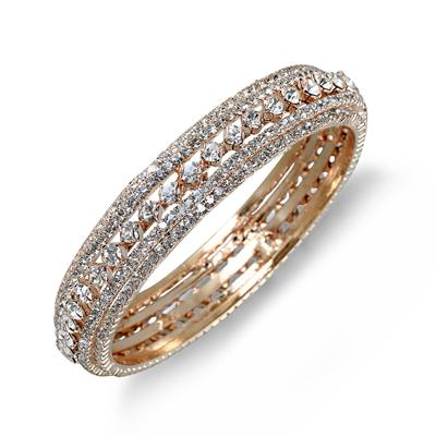 Gold Electroplated White Crystal Estate Bangle Bracelet