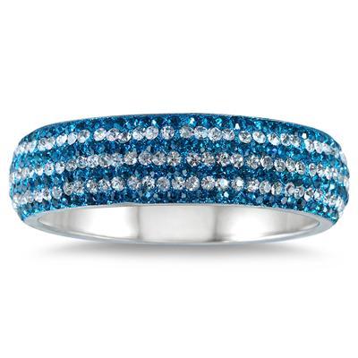 Blue Crystal and White Rhinestone Bangle