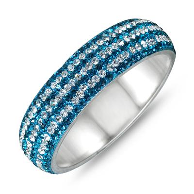 Blue Crystal and White Rhinestone Bangle