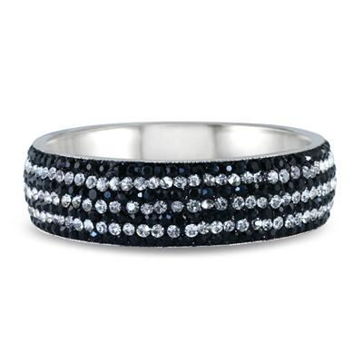 Black Rhinestone and White Crystal Bangle