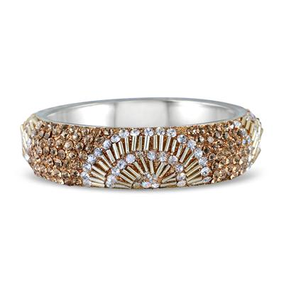 Citrine and White Crystal Gatsby Inspired Rhinestone Bangle