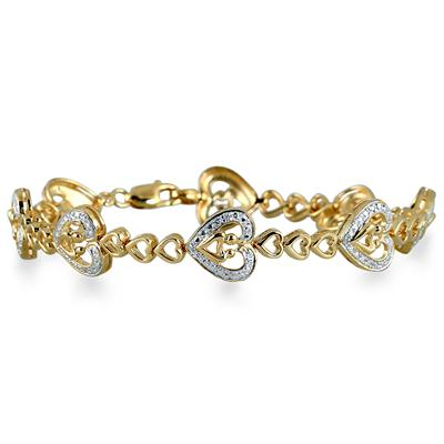 Mother and Baby Diamond Heart Bracelet in 18K Gold Plated Sterling Silver