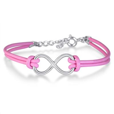Sterling Silver Infinity Bracelet with Genuine Pink Leather Strap