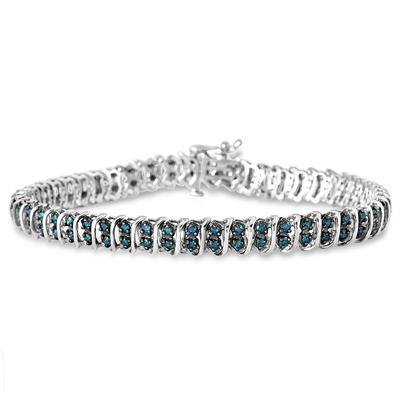 2.00 Carat Blue Diamond S- Link Bracelet in .925 Sterling Silver