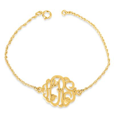 Monogram Initial Bracelet in 24K Gold Plated Sterling Silver