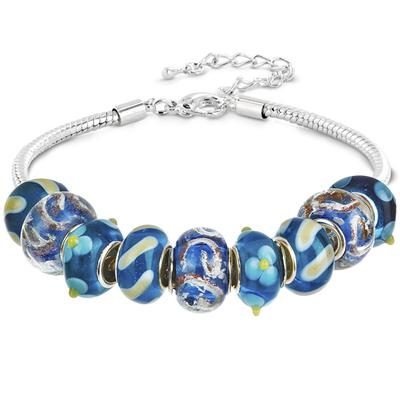 Winter Blue Hand Blown Glass Bead Charm Bracelet