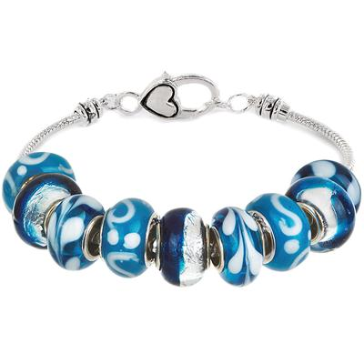 Spring Season Hand Blown Glass Bead Bracelet
