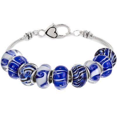 Ocean Blue Glass Bead Charm Bracelet with Heart Clasp