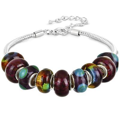 Mardi Gras Glass Bead Charm Bracelet