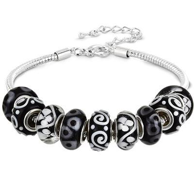 Black and White Glass Bead Charm Bracelet
