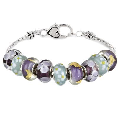Floral Pastel Glass Bead Charm Bracelet