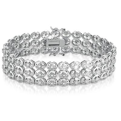 1.00 Carat Diamond Antique Bracelet in .925 Sterling Silver