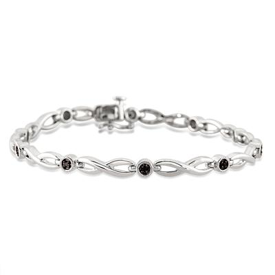 1/10 Carat Black Diamond Link Bracelet in .925 Sterling Silver