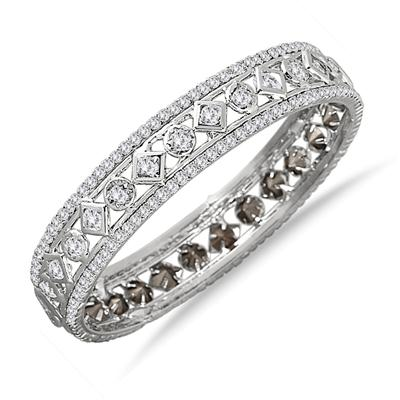 White Electroplated White Crystal Estate Bangle Bracelet (Medium)