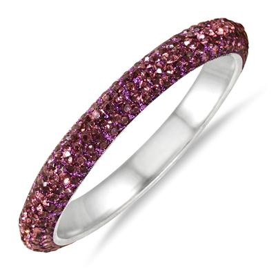 Purple Crystal Rhinestone Bangle (Medium)