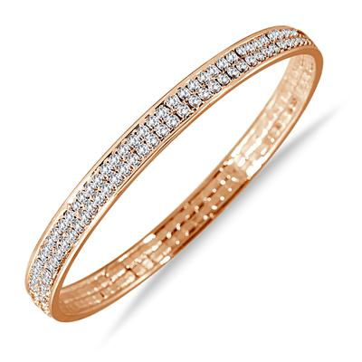 18K Gold Plated White Crystal Bangle Bracelet (Medium)