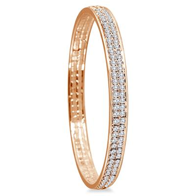 18K Gold Plated White Crystal Bangle Bracelet (Medium)