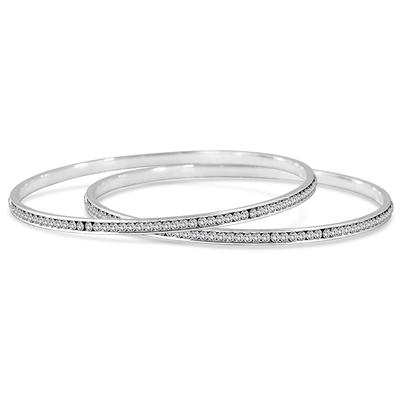 White Crystal Channel Set Bangle Bracelets (Medium)