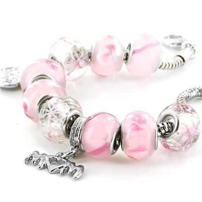 Hand Blown Pink MOM Glass Bead and Charm Bracelet