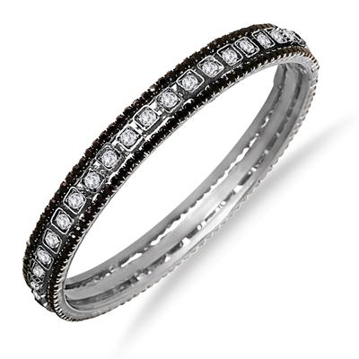 Black Rhinestone and White Crystal Bangle (Large)