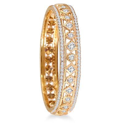 Gold Electroplated White Crystal Estate Large Bangle Bracelet