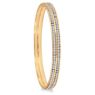 18K Gold Plated Channel Set Crystal Bangle Bracelets (Large)