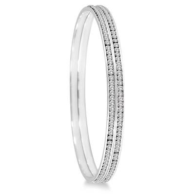 White Crystal Channel Set Bangle Bracelets (Large)