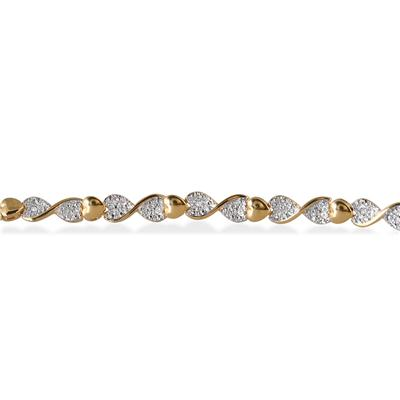 Diamond Heart Twist Bracelet in 18K Yellow Gold Plated Sterling Silver