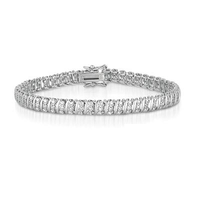 1/2 Carat Diamond S Link Bracelet in Platinum Plated Brass