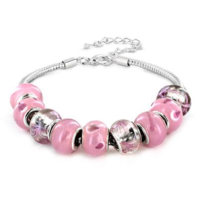 Hand Blown Pink Glass Bead Bracelet in Plated Sterling Silver
