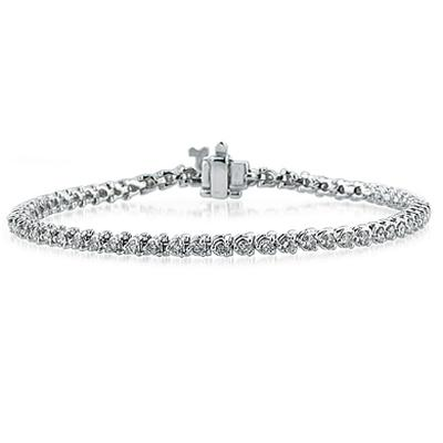 2.00CTW Classic Diamond   Bracelet in 14K White Gold