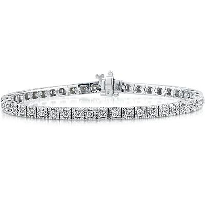 2.00 Carat Antique Square Box Bracelet in 14K White Gold