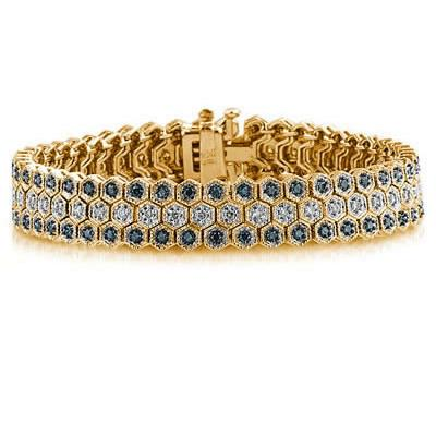 Blue And White Diamond Bracelet in 14k Yellow Gold