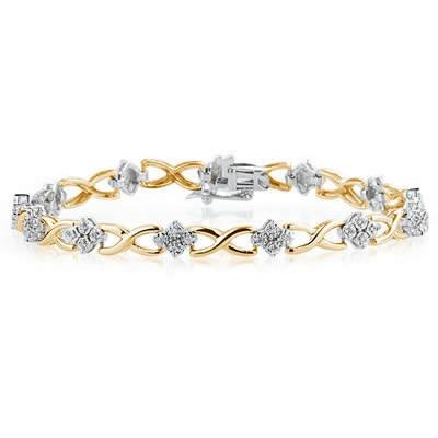 1/4 Carat Diamond Bracelet in 14K Two Toned Gold