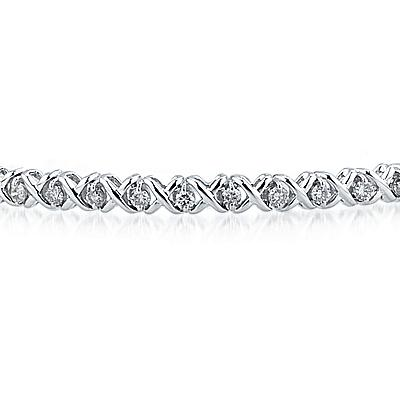 1.25 CTW Diamond X Link Bracelet in 14K White Gold