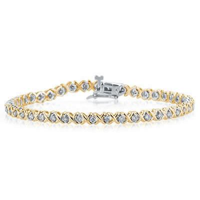 1.25 Carat Diamond X Bracelet in Two Tone 14K Gold