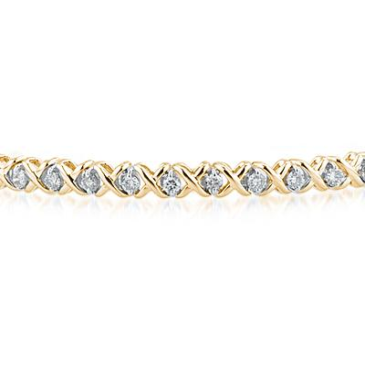 1 1/4 Carat TW Diamond X Bracelet in Two Tone 14K Gold