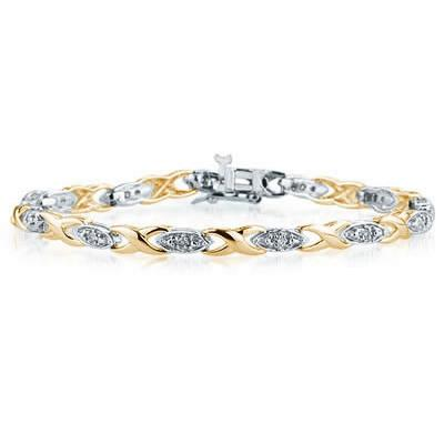 1/4 Carat Diamond Barcelet in Two Toned 14K Gold
