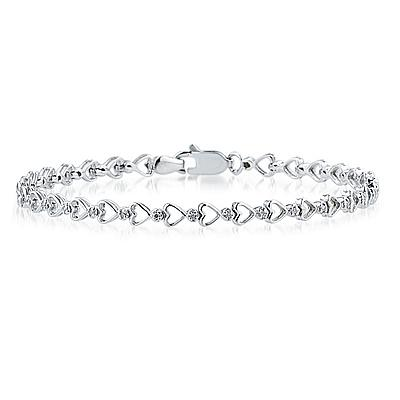 Diamond Heart Link Bracelet in 10K White Gold