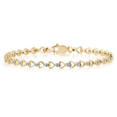 10K Yellow Gold Diamond Heart Bracelet