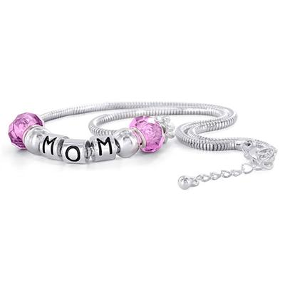 Hand Blown Pink Glass Bead and MOM Charm Bracelet with FREE Matching Necklace