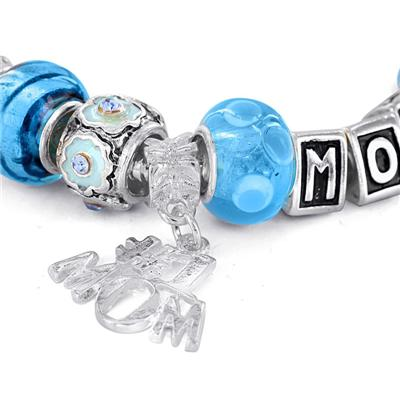 Hand Blown Blue Turquoise MOM Glass Bead and Charm Bracelet with FREE Matching Necklace