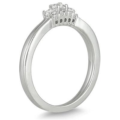 1/3 Carat White Princess Cut Diamond Bridal Ring Set in 10K White Gold
